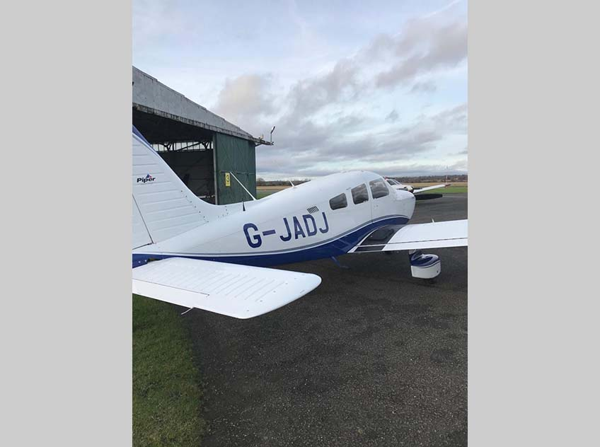 A photo of the G-JADJ aircraft.
